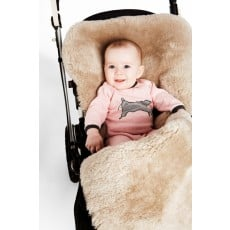Elks and Angels Snuggle Pod Sheepskin Footmuff - Latte