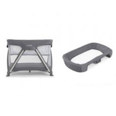 Nuna Sena Pack and Play Playard Travel Crib with Bassinet and Changer - Grey