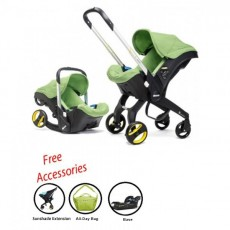 2018 Doona Infant Car Seat Stroller with Base, All Day Bag & Sunshade Extension - Green Fresh
