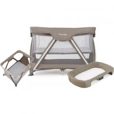 Nuna Sena Travel Crib and Changer with Fitted Sheet Nursery Gift Set - Safari