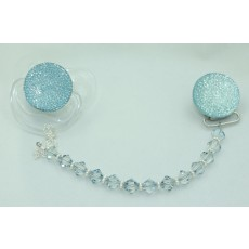 GIFT SET Blue Sparkly Glitter with Swarovky Crystals Pacifier Clip and Glitter Pacifier