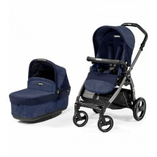 2016 Peg Perego Book Pop Up Stroller with Bassinet - Circles Blue