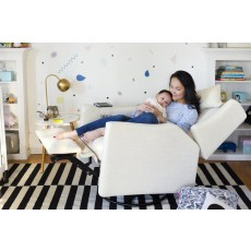 Babyletto Kiwi Glider Recliner with Electronic Control and USB in White Linen
