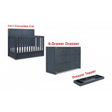 Bertini Wyatt Dresser Topper and 6-Drawer Dresser with 4-in-1 Convertible Crib in Graphite Blue