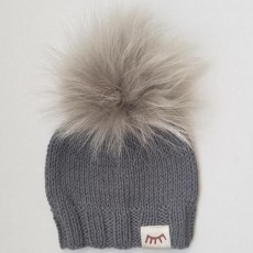 Magnolia Line Grey Monpom Knit Hats 6-12 Months