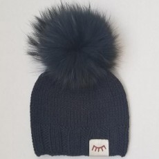 Magnolia Line Navy Blue Monpom Knit Hats 6-12 Months
