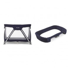 Nuna Sena Pack and Play Playard Travel Crib with Bassinet and Changer - Navy