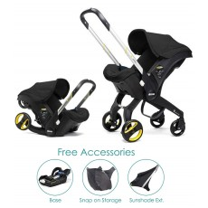 Doona Infant Car Seat with Base, Sunshade Extension and SnapOn Storage - Nitro Black