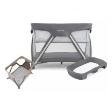 Nuna Sena Travel Crib and Changer with Fitted Sheet Nursery Gift Set - Grey