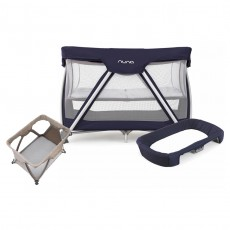 Nuna Sena Travel Crib and Changer with Fitted Sheet Nursery Gift Set - Navy