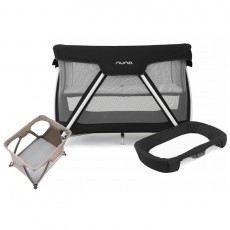 Nuna Sena Travel Crib and Changer with Fitted Sheet Nursery Gift Set - Night