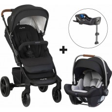 Nuna TAVO One-Box Travel System Caviar - Includes Pipa Lite with Base and Updated Luggage Leather Handle