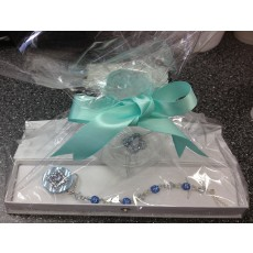 Blue Shamballa with Swarovski Crystals Pacifier Clip and Swarovski Pacifier - GIFT SET