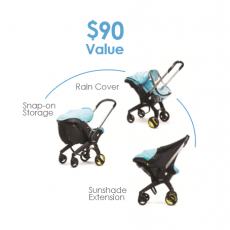 Doona Accessory Product Set with Sunshade Extension, Raincover, and Snap On Storage Bag - $90 Value!