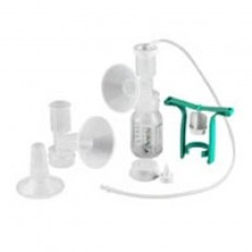 Ameda Single HygieniKit Milk Collection System with CustomFit Flange System and One-Hand Manual Breast Pump Adapter