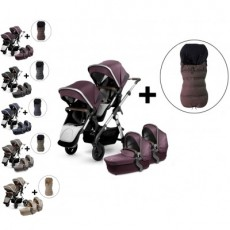 Silver Cross Wave Twin Stroller and Two Premium Footmuffs