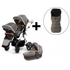2018 Silver Cross Wave Double Stroller and FREE Premium Footmuff - Sable