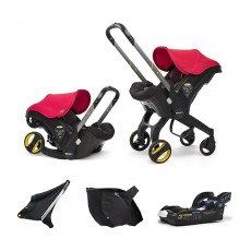 Doona Infant Car Seat with Base, Sunshade Extension and SnapOn Storage - Flame Red