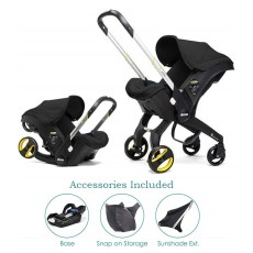 Doona Infant Car Seat with Basae, Sunshade Extension and SnapOn Storage - Nitro Black