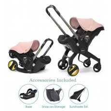 Doona Infant Car Seat with Base, Sunshade Extension and SnapOn Storage - Blush Pink