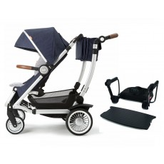 Austlen Entourage Stroller with Jump Seat Complete Package Silver / Navy