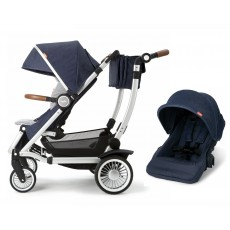 Austlen Entourage Stroller with Second Seat Complete Package - Silver / Navy
