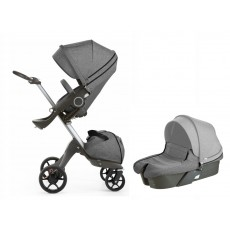2017 Stokke Xplory V5 Stroller with Bassinet Newborn Package - Black Melange