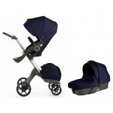 2017 Stokke Xplory V5 Stroller with Bassinet Newborn Package - Deep Blue
