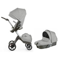 Stokke Xplory V5 Stroller with Bassinet Newborn Package - Grey Melange