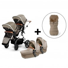 Silver Cross Wave Double Stroller and Two Premium Footmuffs-Linen