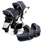 2018 Silver Cross Wave Twin Stroller Complete - Midnight Blue (Wave Board Compatible)